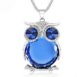 Owl Crystal Rhinestone Brilliant Blue Necklace